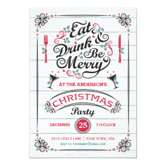 Eat Drink & Be Merry Christmas Party, Rustic Wood 5x7 Paper Invitation Card