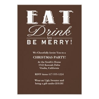 Eat Drink Be Merry Custom Announcements