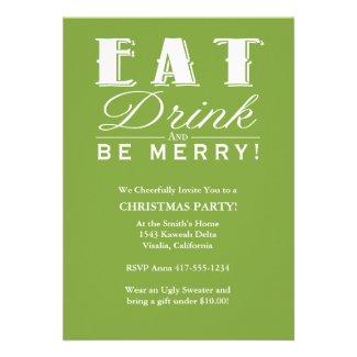 Eat Drink Be Merry Custom Invitation