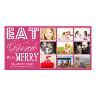 EAT, DRINK & BE MERRY   HOLIDAY COLLAGE CARD PHOTO CARD TEMPLATE