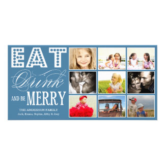 EAT, DRINK & BE MERRY   HOLIDAY COLLAGE CARD PHOTO GREETING CARD