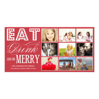 EAT, DRINK & BE MERRY   HOLIDAY COLLAGE CARD PERSONALIZED PHOTO CARD