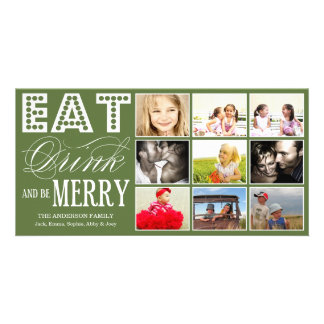 EAT, DRINK & BE MERRY | HOLIDAY COLLAGE CARD PHOTO CARD TEMPLATE