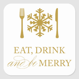 EAT, DRINK & BE MERRY | HOLIDAY ENVELOPE SEAL STICKER