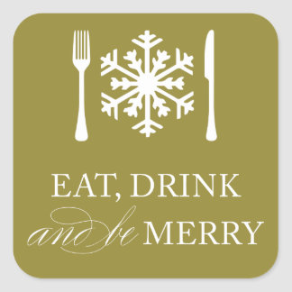 EAT, DRINK & BE MERRY | HOLIDAY ENVELOPE SEAL SQUARE STICKERS