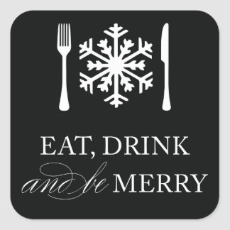 EAT, DRINK & BE MERRY | HOLIDAY ENVELOPE SEAL SQUARE STICKER