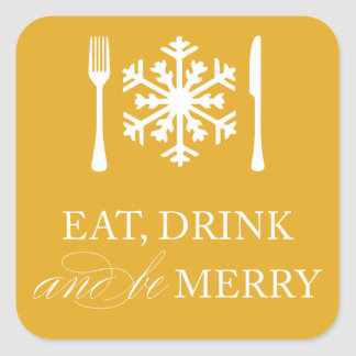 EAT, DRINK & BE MERRY | HOLIDAY ENVELOPE SEAL STICKERS