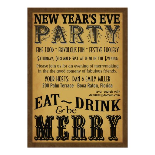 Eat Drink Be Merry New Years Eve Invitations