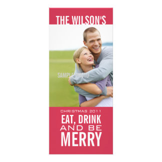 EAT DRINK BE MERRY PHOTO CHRISTMAS CARD Pink Personalized Invitations
