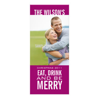 EAT DRINK BE MERRY PHOTO CHRISTMAS CARD Purple Personalized Invite