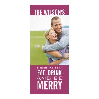 EAT DRINK BE MERRY PHOTO CHRISTMAS CARD Wine Custom Invitation