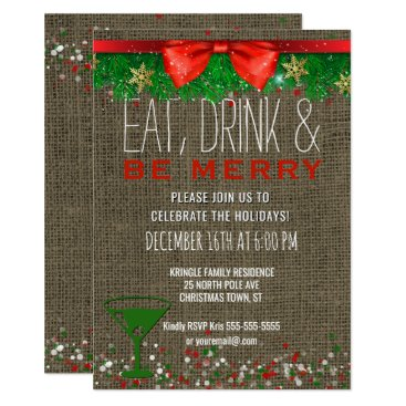 Beach Themed Eat Drink Be Merry Rustic Holiday Cocktail Party Card