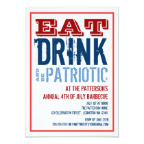 Eat, Drink & Be Patriotic 4th of July BBQ Party Card