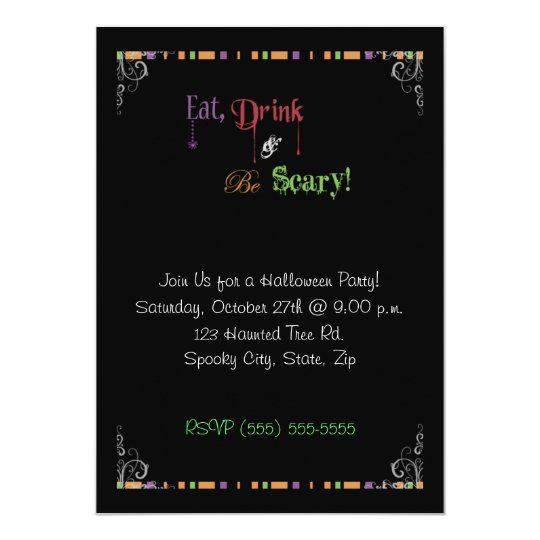 Eat Drink & Be Scary Halloween Invitation