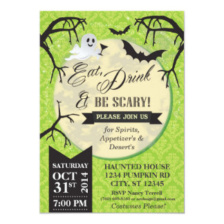 Eat, Drink & Be Scary Halloween Invite - Green