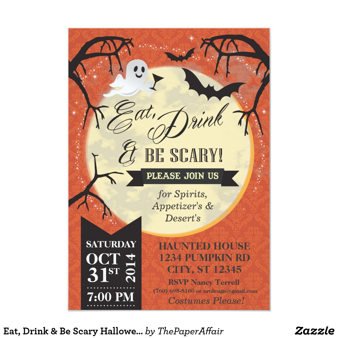 Eat, Drink & Be Scary Halloween Invite - Orange