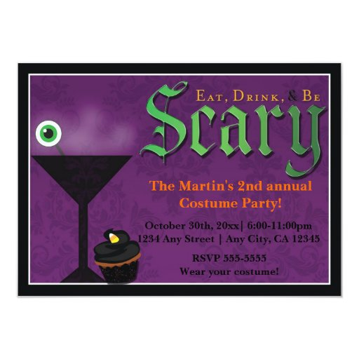 Eat Drink & Be Scary Halloween Party Invitations