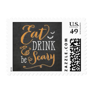 Eat Drink Be Scary Halloween Postage Stamp