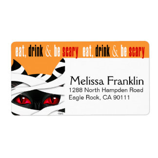 Eat Drink Be Scary Mummy Cat Halloween Custom Shipping Labels