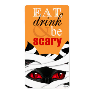 Eat Drink Be Scary Mummy Cat Halloween Shipping Label