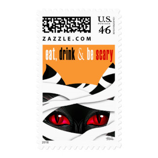Eat Drink Be Scary Mummy Cat Postage Stamps