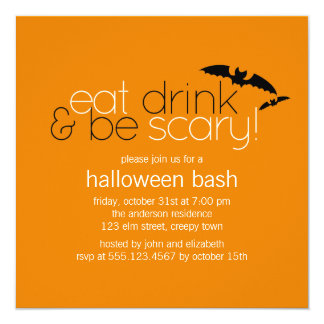 """Eat Drink & Be Scary Party Invitations 5.25"""" Square Invitation Card"""