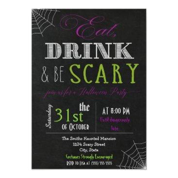 Halloween Themed Eat drink be scary purple green Invitation