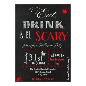 Halloween Themed Eat drink be scary red Halloween Invitation