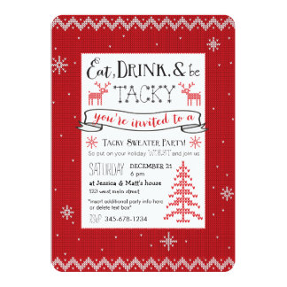 Eat, Drink & Be Tacky Sweater Party Invite