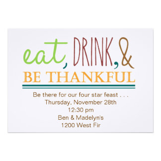 Eat, Drink, & Be Thankful Custom Announcement