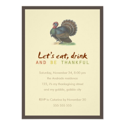 Eat Drink Be Thankful Vintage Thanksgiving Turkey Personalized Invitation