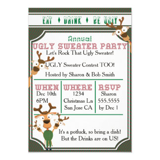 "EAT DRINK BE UGLY Our UGLY Sweater Christmas Party 5"" X 7"" Invitation Card"