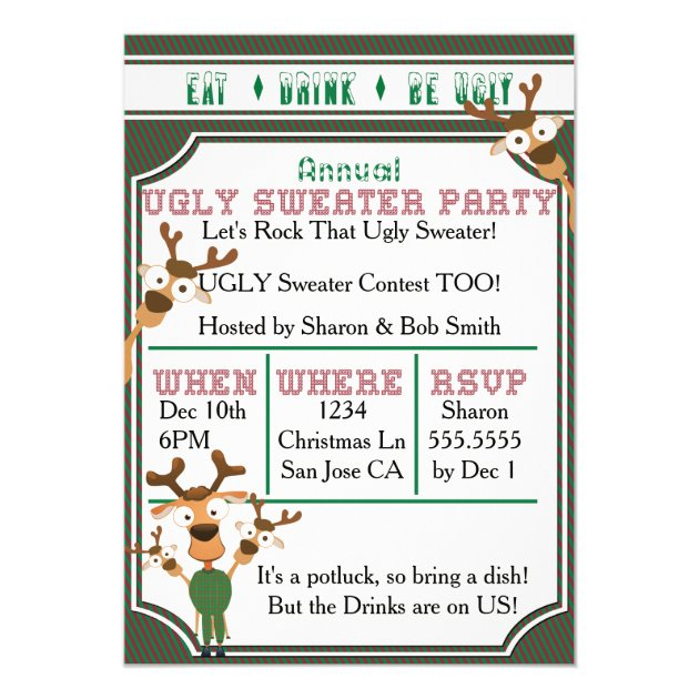 Bronze Reindeer Personalised Christmas Party Invitations