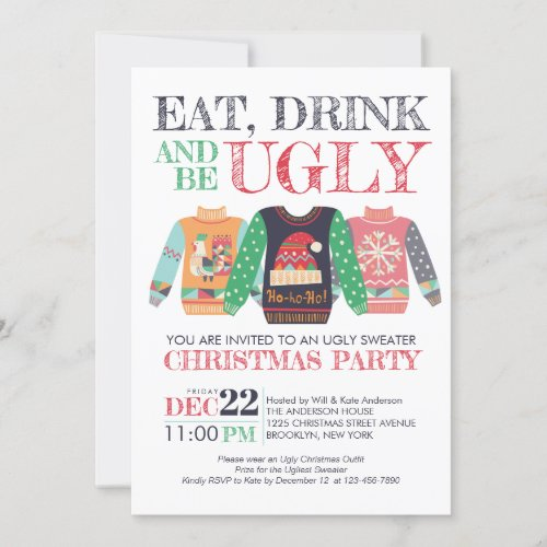 Eat Drink Be Ugly Sweater Christmas Holiday Party Invitation