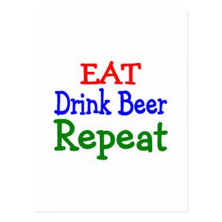 Eat Drink Beer Repeat Postcard