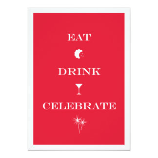 Eat Drink Celebrate red white new year eve party Personalized Announcement
