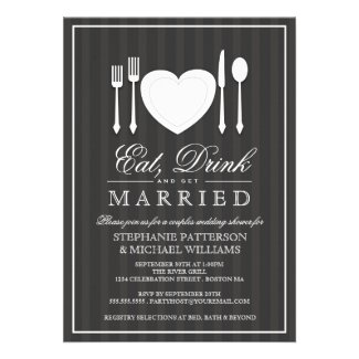 Eat Drink & Get Married Couples Shower Invitation