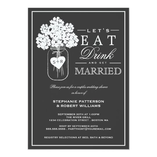 eat drink & get married couples shower invitation | zazzle, Wedding invitations