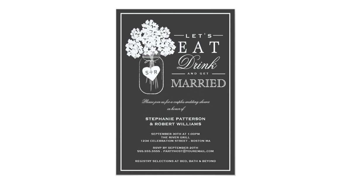 Eat drink get married couples shower invitation zazzle stopboris Gallery
