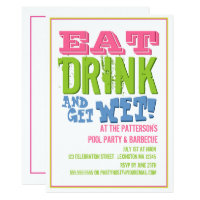 Eat, Drink & Get Wet at a Pool Party & BBQ Card