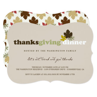 Eat Drink & Give Thanks Leaves Thanksgiving Invite