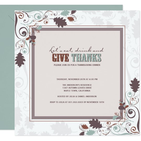 Eat Drink & Give Thanks Rustic Thanksgiving Invite