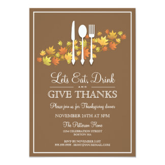 Eat Drink & Give Thanks Thanksgiving Dinner Party Announcements