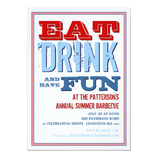Eat, Drink & have Fun at a Summer BBQ Party 4.5x6.25 Paper Invitation Card