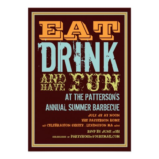 Eat, Drink & Have Fun at a Summer BBQ Party Custom Invite