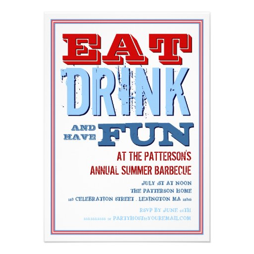 Eat, Drink & have Fun at a Summer BBQ Party Personalized Invite
