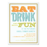 Eat, Drink & have Fun at a Summer BBQ Party Personalized Invites