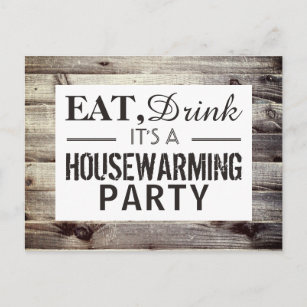 Eat, Drink Housewarming Party Rustic Wood Invite