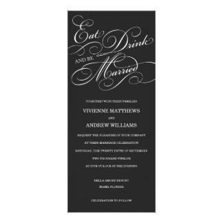 EAT DRINK IN MIDNIGHT BLACK WEDDING INVITATION