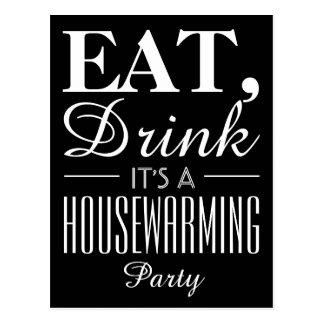 Eat, Drink It's a Housewarming Party Chalkboard Postcard